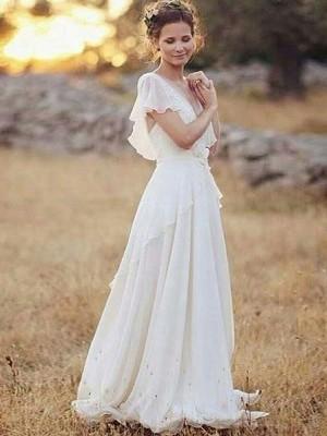 A-linjeformat Chiffong V-ringning Volanger Korta ärmar Golvläng Bröllopsklänningar