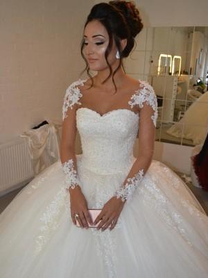 Stora Tyll Långa ärmar Rund-urringning Applikation Court släp Bröllopsklänningar