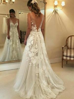 A-linjeformat V-ringning Ärmlös Sweep släp Applikation Tyll Bröllopsklänningar