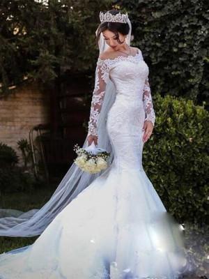 Trumpet/Sjöjungfru Tyll Spetsar Off-shoulder ringning Långa ärmar Sweep släp Bröllopsklänningar