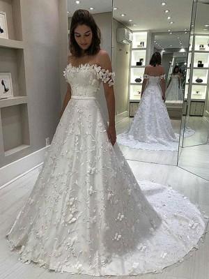 A-linjeformat Satäng Off-shoulder Applikation Ärmlös Sweep släp Bröllopsklänningar