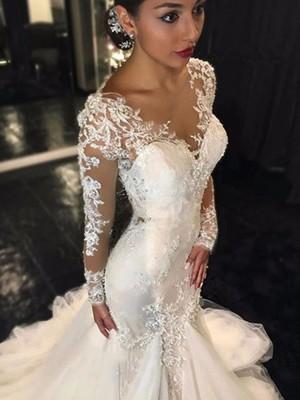 Trumpet/Sjöjungfru V-ringning Långa ärmar Spetsar Court släp Tyll Bröllopsklänningar