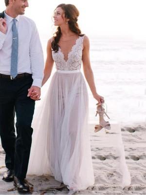 A-linjeformat Rund-urringning Golvläng Ärmlös Spetsar Tyll Bröllopsklänningar