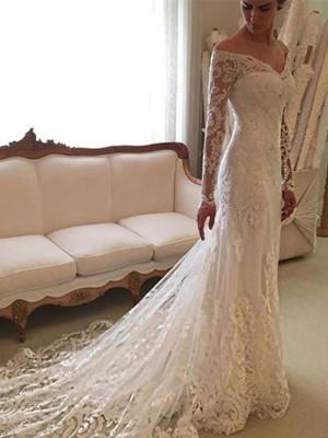 Slida/Kolumn Långa ärmar Spetsar Off-shoulder ringning Court släp Bröllopsklänningar