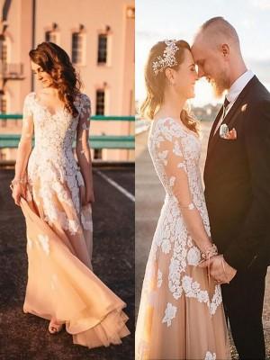 A-linjeformat Tyll V-ringning Långa ärmar Spetsar Sweep släp Bröllopsklänningar