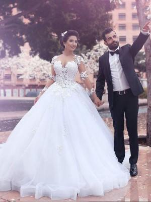 Stora Court släp Hjärtformad Långa ärmar Tyll Bröllopsklänningar