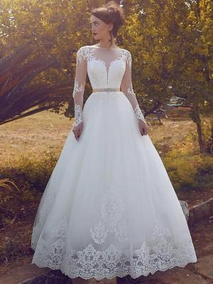 Stora Bateu Tyll Långa ärmar Golvläng Bröllopsklänningar