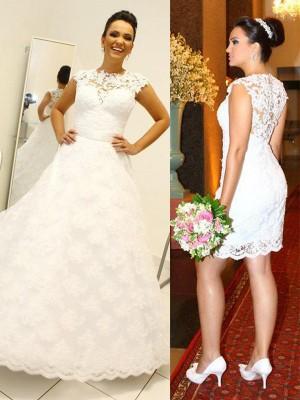 Stora Rund-urringning Spetsar Ärmlös Golvläng Bröllopsklänningar