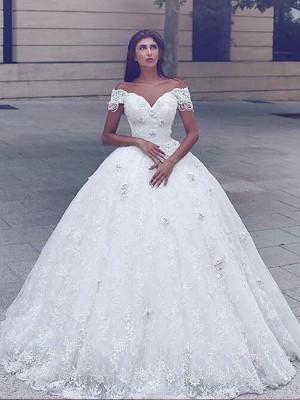 Stora Spetsar Golvläng Off-The-Shoulder Bröllopsklänningar