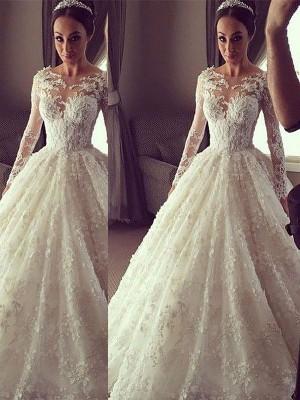 Stora Långa ärmar Rund-urringning Court släp Spetsar Bröllopsklänningar