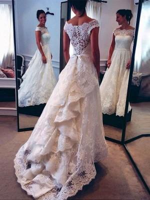 A-linjeformat Rund-urringning Spetsar Court släp Ärmlös Bröllopsklänningar