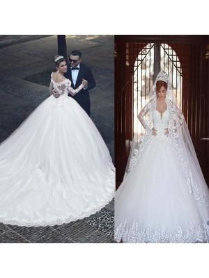 Stora Tyll Långa ärmar Off-shoulder ringning Court släp Bröllopsklänningar