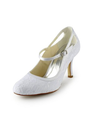 Women's Pretty Satäng Stiletto Heel Pumps Dekorera med Buckle Vit Bröllop Skor