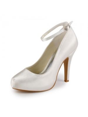 Women's Satäng Stiletto Heel Closed Toe Platform Ivory Bröllop Skor Dekorera med Buckle