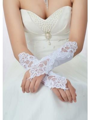 Stunning Pärlbrodering Spetsar Satäng Brudhandskar