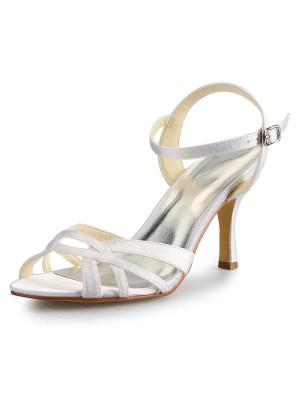 Women's Stiletto Heel Peep Toe Satäng Dekorera med Buckle Sandaler Dansskor