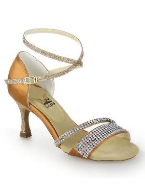 Women's Stiletto Heel Peep Toe Satäng Buckle Dansskor