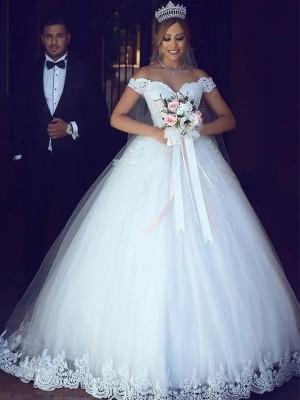 Stora Off-shoulder ringning Ärmlös Golvläng Spetsar Tyll Bröllopsklänningar