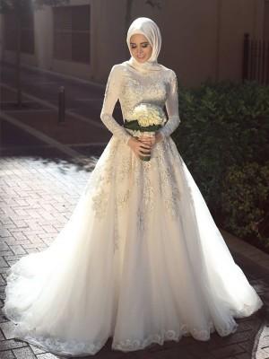 Stora Juvel Långa ärmar Sweep släp Applikation Tyll Bröllopsklänningar