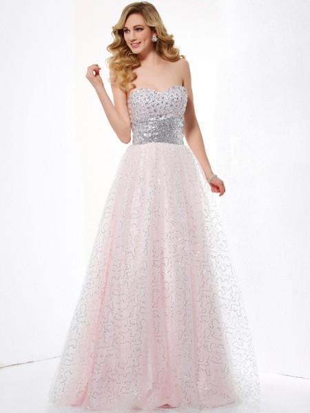 Balklänning Hjärtformad Ärmlös Långa Nät Klänningar