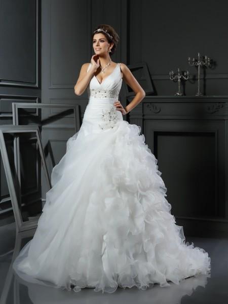Balklänning V-ringning Rufsar Ärmlös Långa Organzapåse Brudklänningar