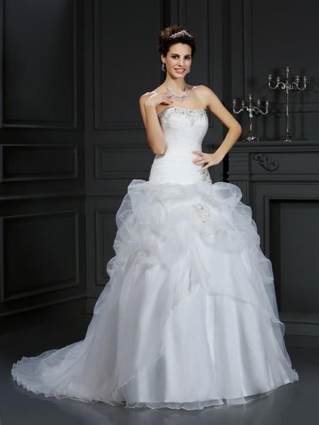 Balklänning Axelbandslös Pärlbrodering Ärmlös Långa Organzapåse Brudklänningar