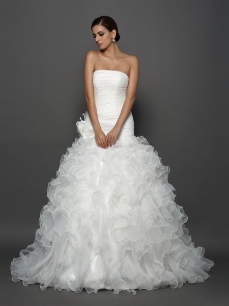 Balklänning Axelbandslös Blomma Ärmlös Långa Organzapåse Brudklänningar