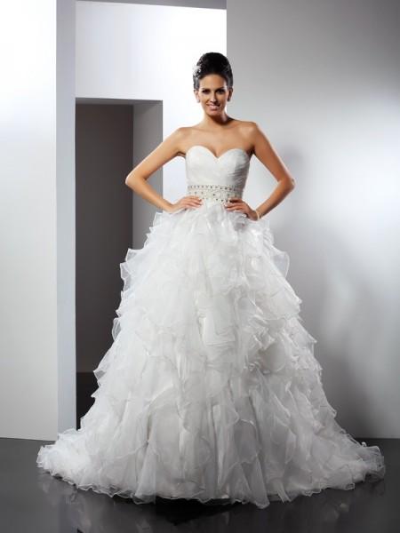Balklänning Hjärtformad Rufsar Ärmlös Långa Organzapåse Brudklänningar