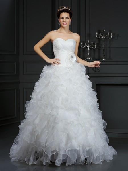 Balklänning Hjärtformad Blomma Ärmlös Långa Organzapåse Brudklänningar