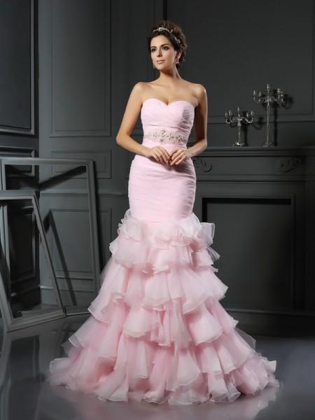 Trumpet/Sjöjungfru Hjärtformad Pärlbrodering Ärmlös Långa Organzapåse Brudklänningar