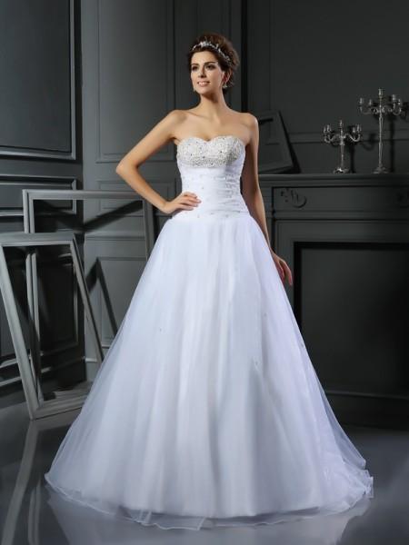 Balklänning Hjärtformad Pärlbrodering Ärmlös Långa Satäng Brudklänningar