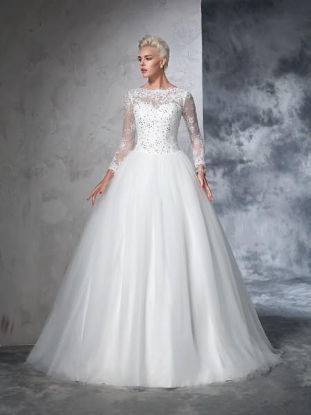 Balklänning Bateu Spetsar Långa ärmar Långa Nät Brudklänningar