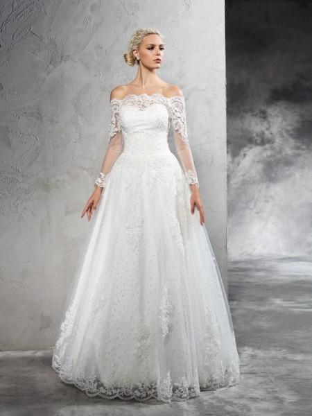 Balklänning Off-shoulder ringning Spetsar Långa ärmar Långa Nät Brudklänningar