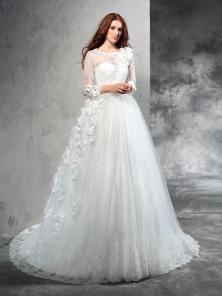Balklänning Sheer ringning Blomma Långa ärmar Långa Nät Brudklänningar