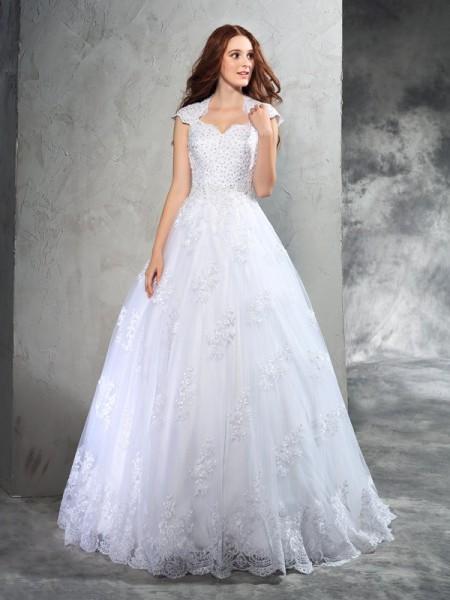 Balklänning Hjärtformad Spetsar Ärmlös Långa Organzapåse Brudklänningar