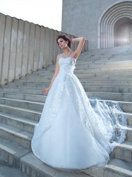Balklänning Hjärtformad Spetsar Ärmlös Långa Spetsar Brudklänningar