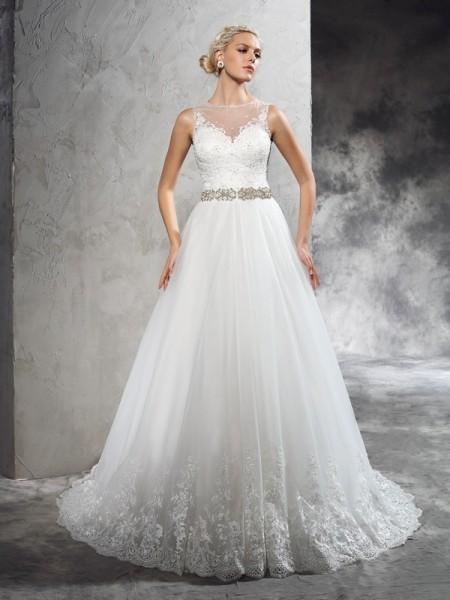 A-linjeformat Sheer ringning Pärlbrodering Ärmlös Långa Nät Brudklänningar