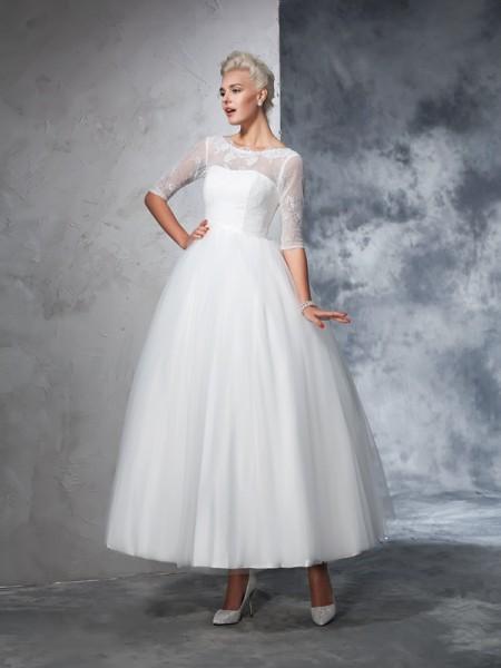 Balklänning Bateu Spetsar 1/2 Ärmar Långa Nät Brudklänningar