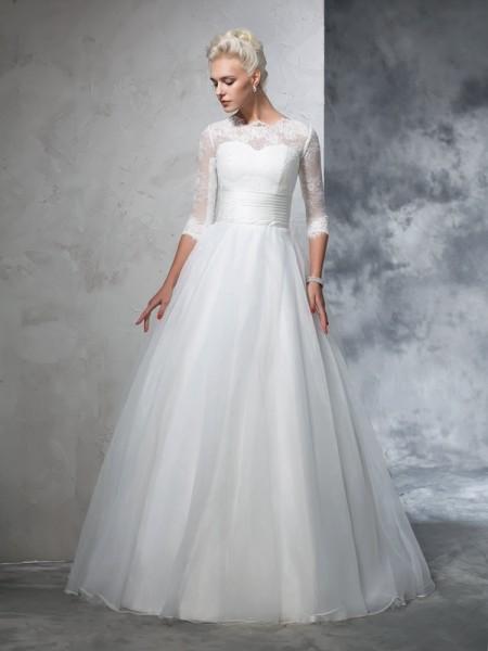 Balklänning Juvel Applikation 3/4 Ärmar Långa Organzapåse Brudklänningar
