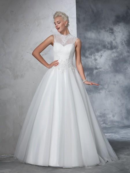 Balklänning Hög hals Applikation Ärmlös Långa Nät Brudklänningar
