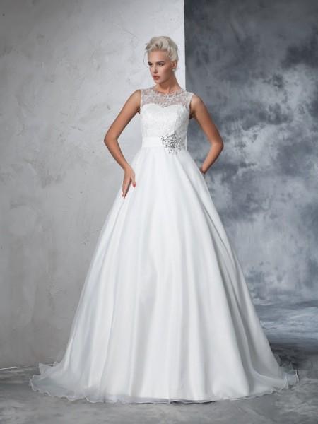 Balklänning Sheer ringning Spetsar Ärmlös Långa Nät Brudklänningar