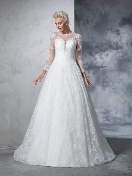 Balklänning Juvel Spetsar Långa ärmar Långa Spetsar Brudklänningar
