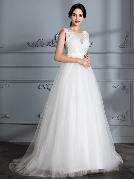A-linjeformat Ärmlös V-ringning Sweep släp Tyll Bröllopsklänningar