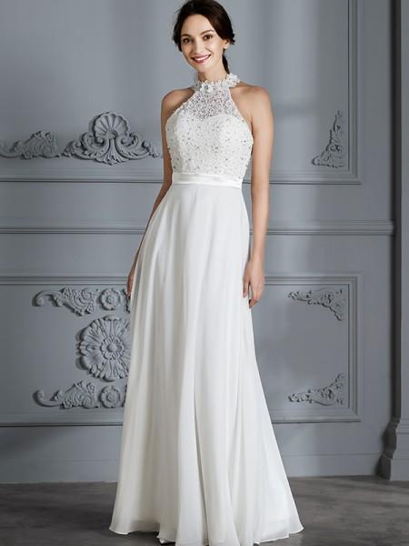 A-linjeformat Rund-urringning Ärmlös Golvläng Chiffong Bröllopsklänningar