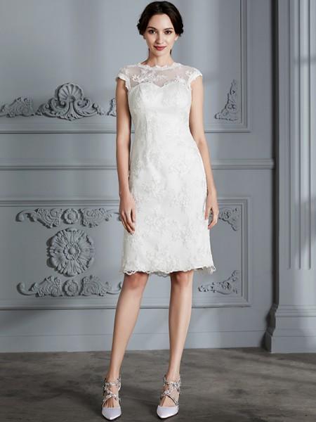 A-linjeformat Ärmlös Rund-urringning Knälång Spetsar Satäng Bröllopsklänningar