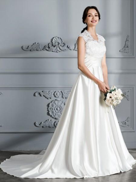 Stora V-ringning Ärmlös Court släp Satäng Bröllopsklänningar