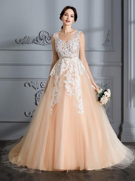 Stora Rund-urringning Ärmlös Court släp Tyll Bröllopsklänningar