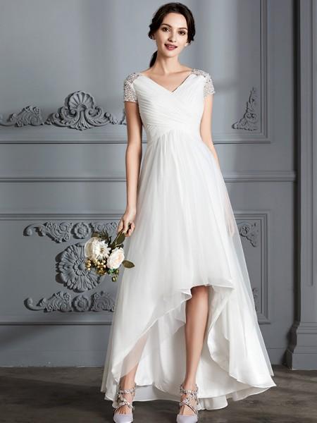A-linjeformat V-ringning Korta ärmar Asymmtrisk Tyll Bröllopsklänningar