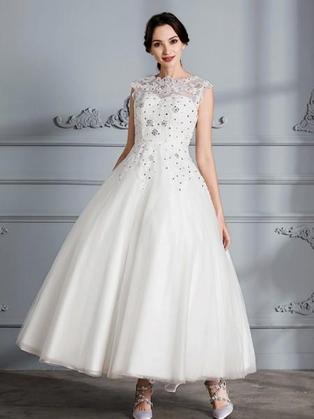 Stora Rund-urringning Ärmlös Tea-lång Tyll Bröllopsklänningar