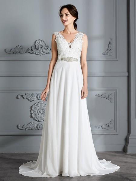 A-linjeformat Ärmlös V-ringning Sweep släp Chiffong Bröllopsklänningar